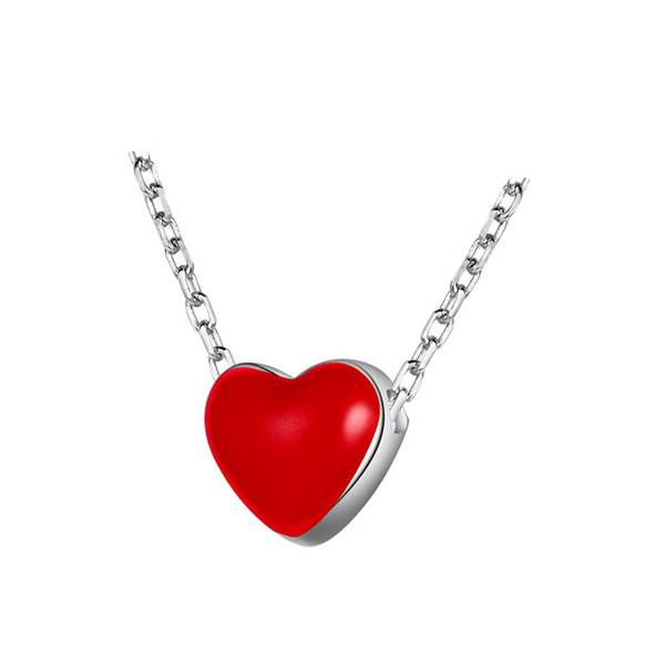 Contracted double-sided Oil drip sweet red heart pendant necklace 925 pure silver ornaments heart-shaped necklace H9-011