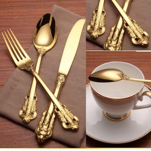 Vintage Western Gold Plated Dinnerware Dinner Fork Knife Set Golden Cutlery Set Stainless Steel 4 Pieces Engraving Tableware wn584 30set