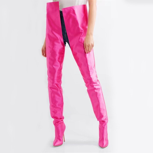 Luxury Silk Runway Fetish Shoes Woman Plus Size 35-45 Extreme Long Botas Mujer Sexy Thin High Heels Rihanna Crotch Waist Thigh High Boots