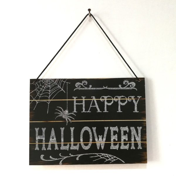 Free Shipping Wooden Happy Halloween Signs Photo Props Wood Hanging Signs with Ribbon Hang Party Accessories