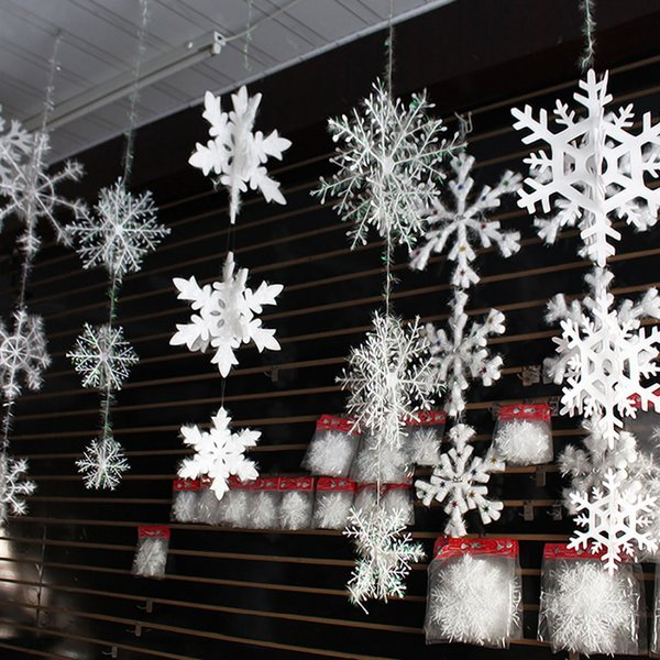 60pcs Christmas Snowflake Window Sticker Winter Wall Stickers Kids Room Christmas Decorations for Home New Year Stickers