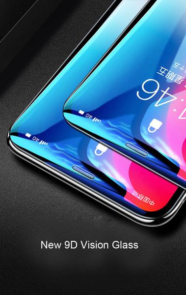 Temperli Cam 10 H Sertlik 9D Görüş Ekran Koruyucu iPhone X Cam Koruyucu Tam Vücut Kapsama Patlamaya dayanıklı Anti-Mavi ışık