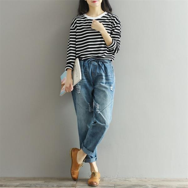 2018 Autunno Boyfriend Jeans Harem Pantaloni Donna Pantaloni Casual Plus Size Loose Fit Vintage Denim Pantaloni Vita alta Jeans 3XL
