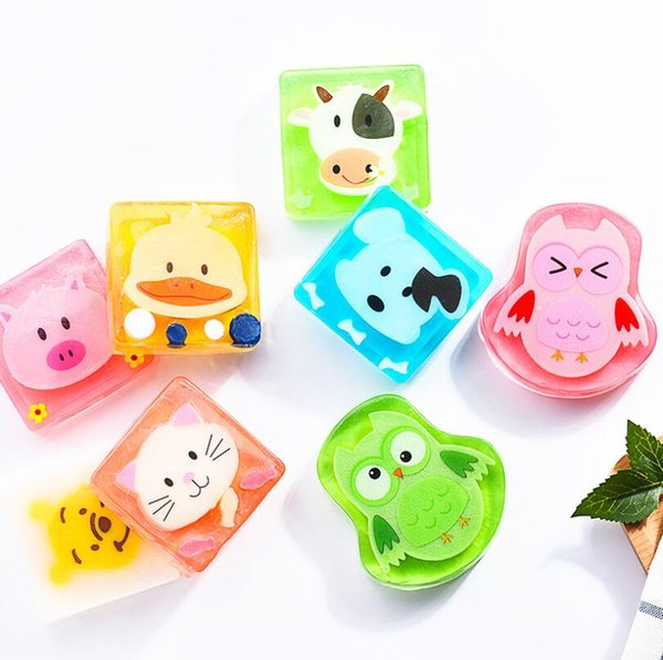 Child Kids Cartoon Animal Handmade Soap Natural Essential Oil Soap Skin Cleansing New Fruity hand-made soap gift Free Shipping