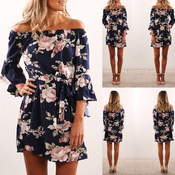 size 7 uk availability unique design 2020 Off Shoulder Summer Beach Dress Floral Print Women Sexy ...