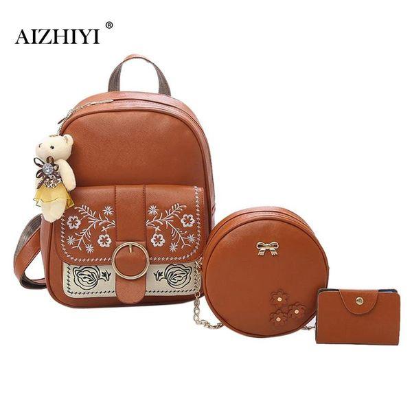 3pcs/set Women PU Leather Big Bear Backpack Casual Chain Shoulder Card Clutch Bags Composite Set Bag Ladies Fashion New