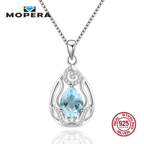Genuine Natural Blue Topaz Pendants Real 925 Sterling Silver Water Drop Flower Pendant Necklaces Gemstone Fine Brand Jewelry Y18102910
