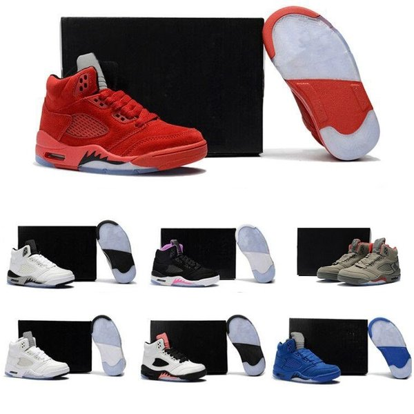 Cheap Hot Brand Kids 5 5s V Green mens Basketball Shoes Athletic Sports Sneakers trainers outdoor designer running shoes for men US 8-13
