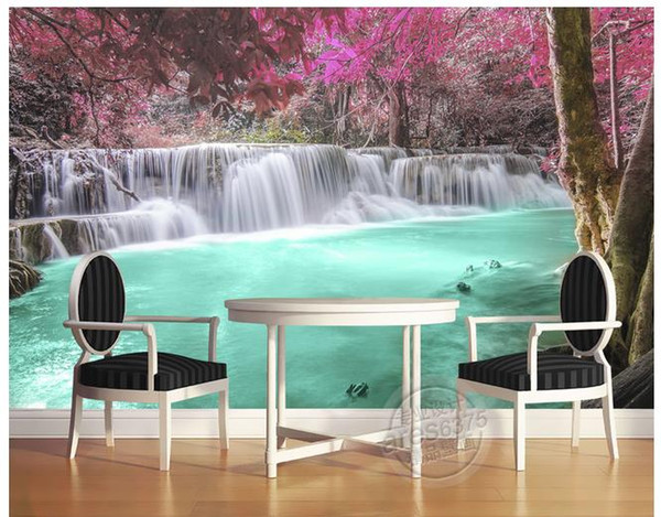 Hintergrundwand der Waldbäume Wasserfallseeumwandhintergrundwandbilder 3d für Wohnzimmer