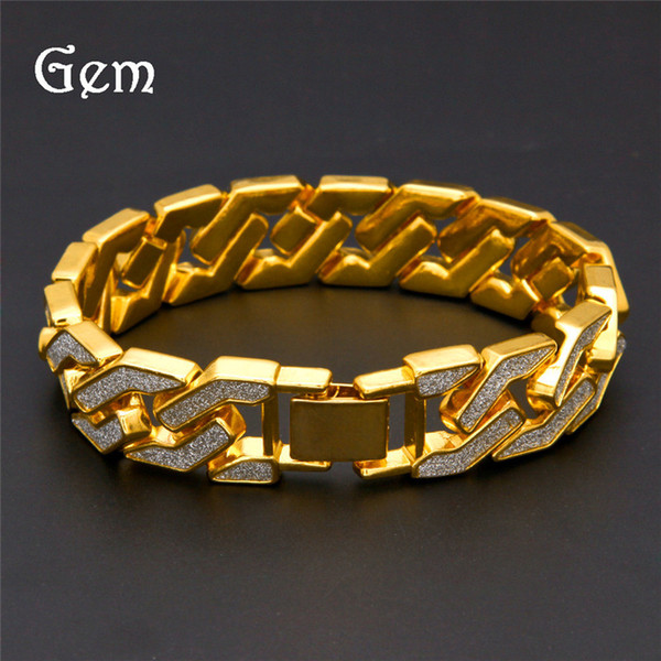 top popular Cuban Chain Bracelet For Mens Tops Quality Pop Club Accessories Ice Out Hip Hop Bracelets Gold Plating Bangle Zircon Chains 2019