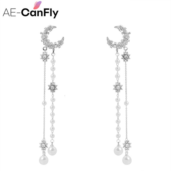 AE-CANFLY 2018 Shiny Moon Long Chain Tassel Earrings Luxury Statement Drop Earring With Pearl Wedding Jewelry S914