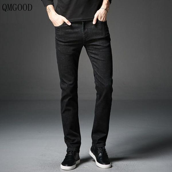 Großhandel QMGOOD Klassische Schwarze Dünne Herren Jeans Mode Neue 2018 Hochwertige Mode Herren Röhrenjeans Stretch Marke Männliche Hosen Von