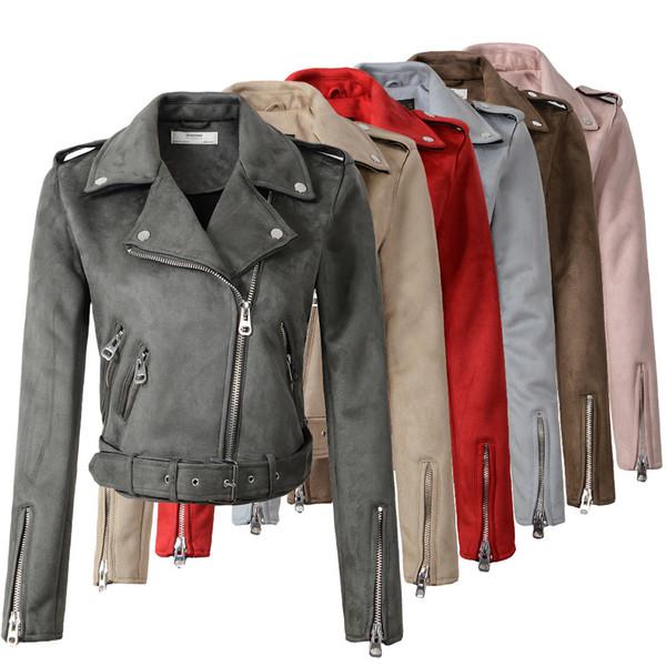2018 New Arrial Women Autumn Winter Suede Faux Leather Jackets Lady Fashion Matte Motorcycle Coat Biker Gray Pink Beige OutwearY1882402