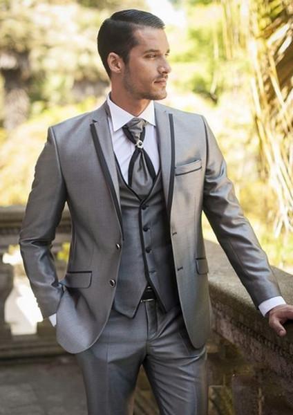 Slim Fit Silver Grey Groom Tuxedos Notch Lapel Two Button Groomsmen Mens Wedding Tuxedos Excellent Man 3 Piece Suit(Jacket+Pants+Vest+Tie)17