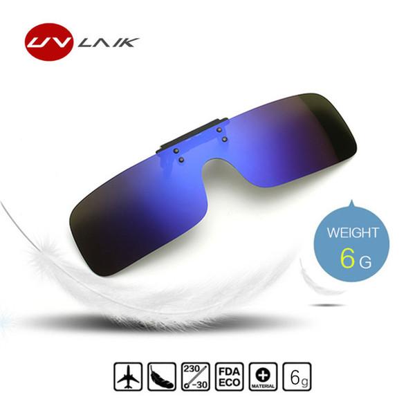 UVLAIK Clip auf Sonnenbrille Männer Fahren Polarisierte Flip up Gläser Frauen Frameless Nachtsichtbrille Brillen Clip