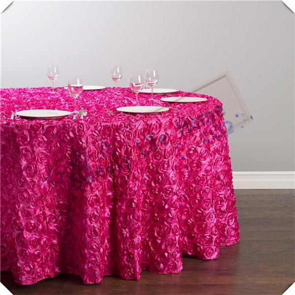 Colore fucsia da 90 pollici Rotondo Spedizione gratuita 5 pz 3D Satin Rosette tovaglie / Satin Wedding table cover spread / party Decorazioni per eventi
