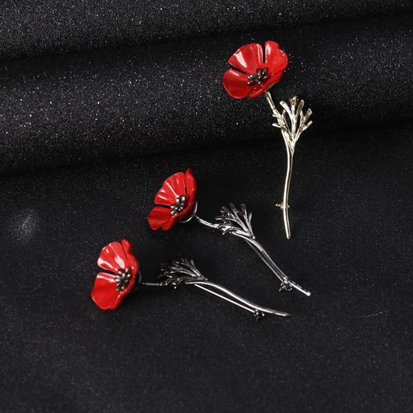 Midger Poppy Flower Brooch Collar Pins Alloy Boutonniere Men Suit Fashion Jewelry Men Flower Stick Brooches Mixed 3 PCS/LOT