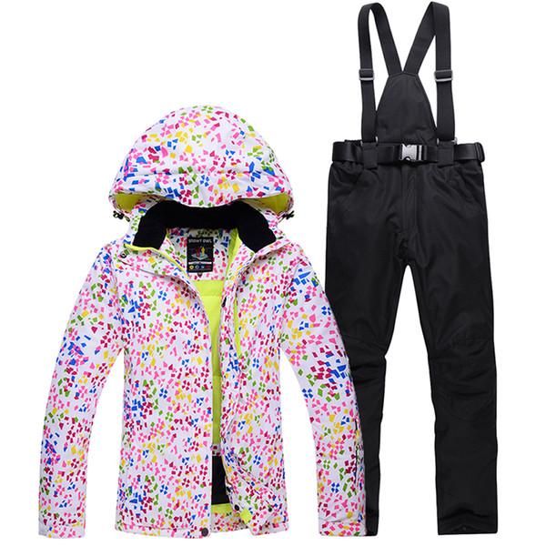 Traje de esquí de las mujeres pantalones de chaqueta de esquí impermeable traje de esquí de montaña ropa de snowboard a prueba de viento invierno ropa deportiva al aire libre