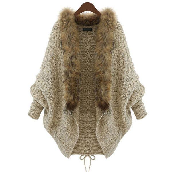 Frauen Strickjacke Dick Poncho Capes Femme Herbst Winter Fledermaus Ärmel Pelzkragen Wolle Pullover Strick Lange Strickjacke 50
