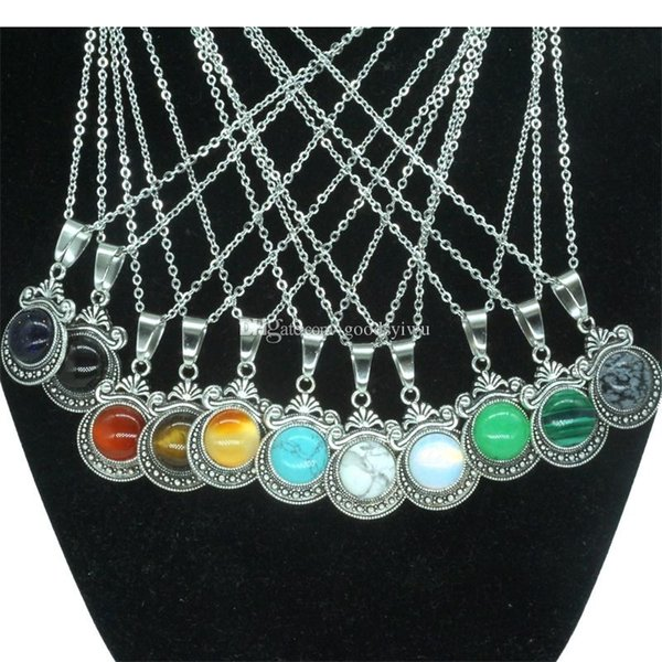 12 Colors Natural Stone Necklace Vintage Crown 12MM Round Pink opal Crystal Gem Charms Earrings for Women Jewelry