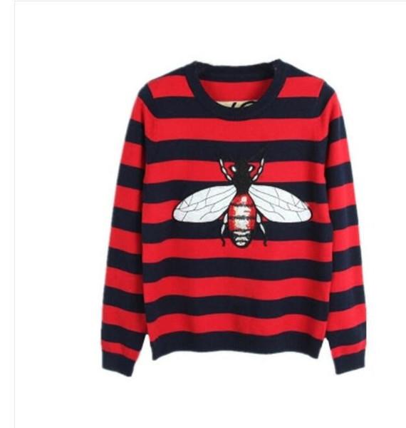 2018 début de l'automne femmes pull abeille motif broderie cachemire matériel mode noir foncé et rouge deux couleurs taille S-L