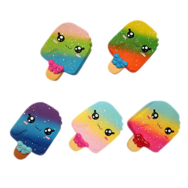 Regenbogen Emoji Popsicle Squishy Lebensmittel Spielzeug Squishies Eis duftende Squeeze Stressabbau Langsam steigende Hauptdekor Kinder Geschenke Spielzeug