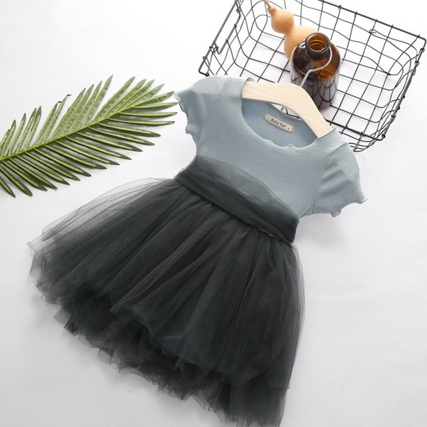 Korean Style Girls Dresses Patchwork Baby Tutu Princess Dresses Short Sleeve Bow Know on Back Girl Summer Dresses 18062101