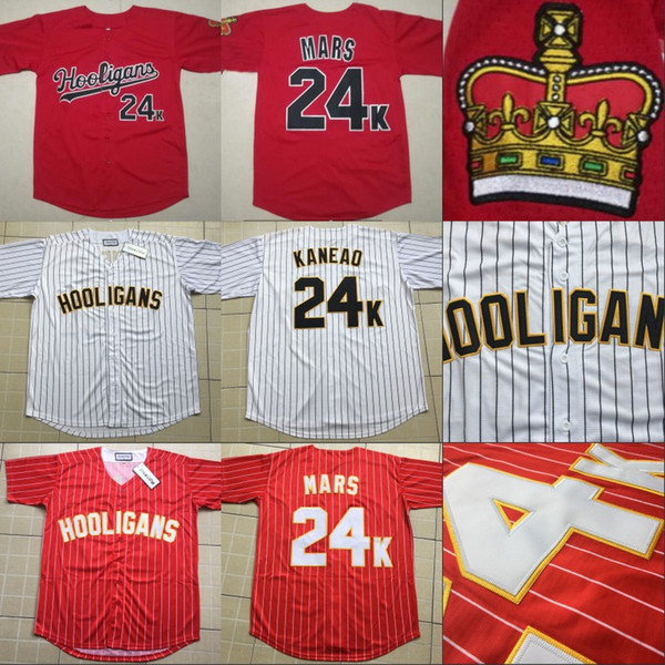 Mens Hooligans 24k Bruno Mars Bianco Awards Gessato Jersey 100% Stitched Sewn Button Baseball Jerseys Cheap Wholesale S-3XL
