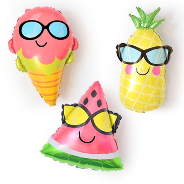 nuevo ins helio foil partido supples globos gafas sandía en forma especial globos divertidos fruta piña fresa niños fuentes del partido