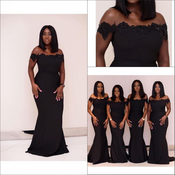 African Black Off The Shoulder Satin Mermaid Long Bridesmaid Dresses 2020  Plus Size Applique Beaded Wedding Guest Maid Of Honor Dress Plus Size ...