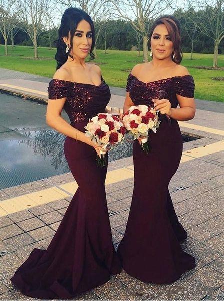 2018 Sud Africa Borgogna Scollo a V Lunga Sirena Abiti da sera Sparkling Paillettes Top Increspatura Partito formale Prom Abito per gli ospiti Custom Made