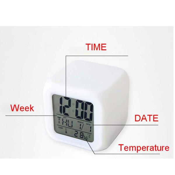 HOT! Digital Alarm Night Glowing Würfel 7 Farben Uhr LED Ändern Fa Moderner Design Dropship jun22