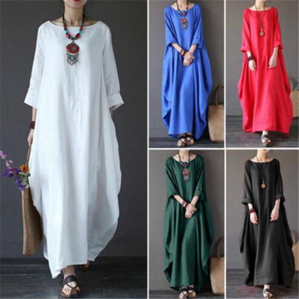 Womens Ladies Casual manga larga suelta Baggy algodón lino largo vestido largo Kaftan más el tamaño M218