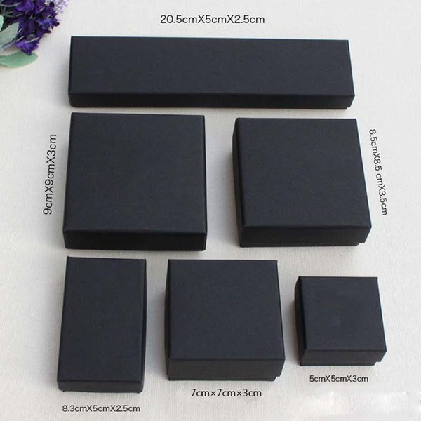 High Archives Black Kraft Jewelry Packing Bracelet Necklace Ring Ear Nail Box Christmas New Year Gift Customize 6 Size