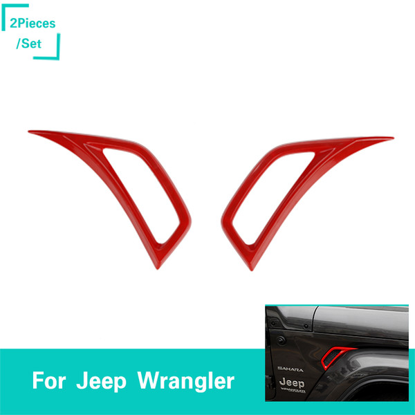 Pair Red Car Leaf Plate Air Inlet Trim Cover Decor For 2018 Jeep Wrangler JL ABS