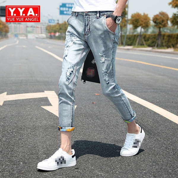 Mens Cowboy Pants Korean Students Feet Pants Slim Stretch Hole Ripped Hip Hop Male New 2018 Jeans Thin Light Blue Big Size