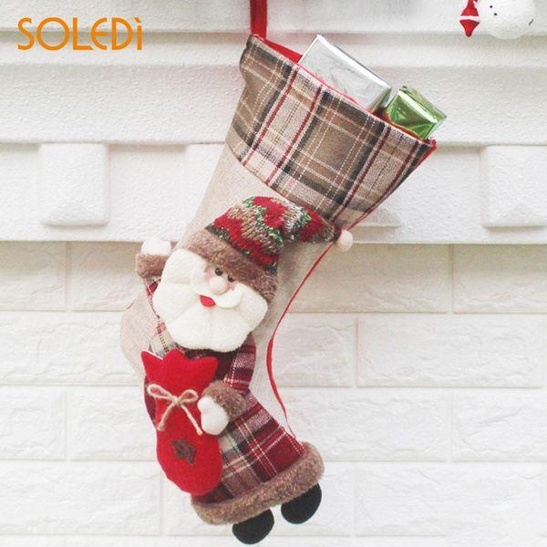 Stocking Gift Bags Soft Non-Woven Santa Claus Hanging Ornaments Comfortable Pendant Elk Creative Decoration Snowman