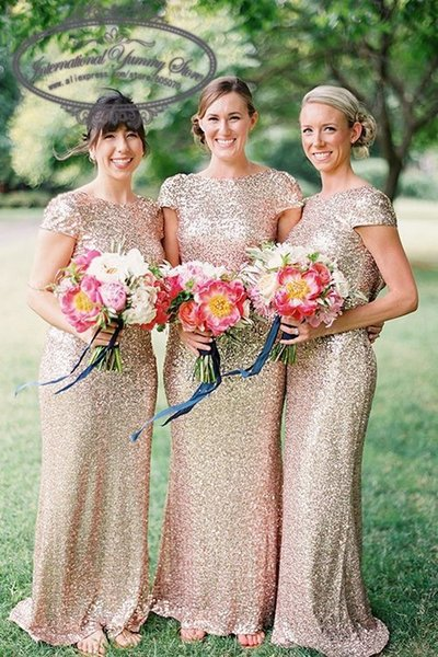 2018 Gold Mermaid Sequined Lace Bridesmaid Dress for Wedding Prom Dress Open Back
