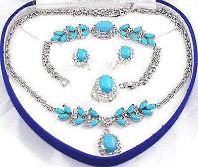 Turquoise WGP Link Crystal Pendant Necklace Bracelet Earring Ring Jewelry Set