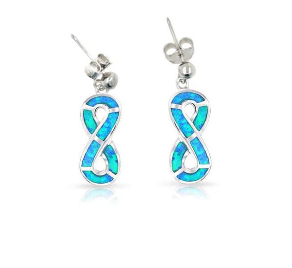 Oreille de plage Stud 925 argent Sterling synthétique Opal Figure Huit Drop boucles d'oreilles Infinity boucles d'oreilles Womens Earrings