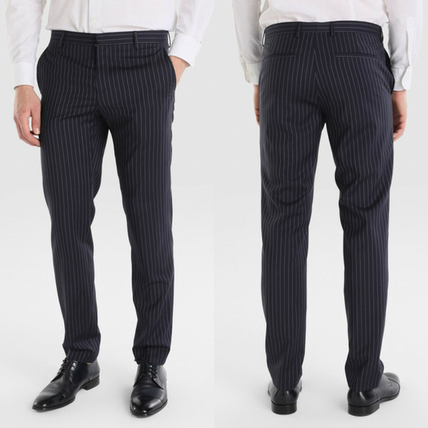 Wedding Men Suit Pants Formal Black Fashion Slim Fit Casual Business Straight Dress Trousers Free Shipping