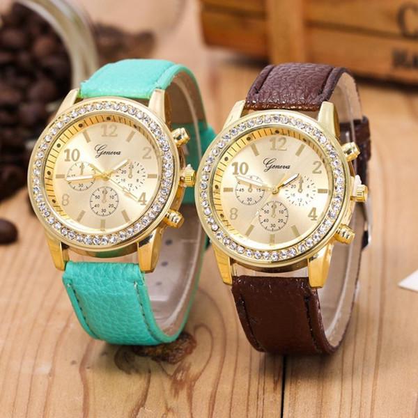 Ginebra Moda Mujer Diamante Reloj Mujer Reloj De Cuarzo Clásico