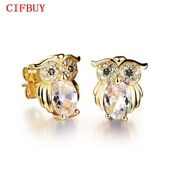 CIFBUY Owl Design Woman Stud Earrings Vintage Gold Color Red/ Black/ White Cubic Zirconia Women Jewelry Earring KE637