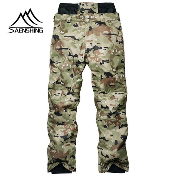 SAENSHING Men Ski Pants Snowboarding Thicker Camouflage Winter Outdoor Waterproof Windproof Warming Nylon Free Delivery