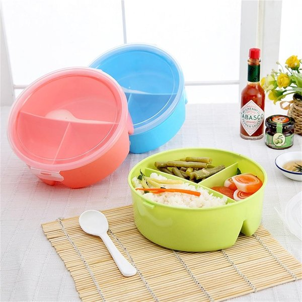 Adeeing Portable Microwavable Round Lunch Boxes for Kids with 3 Partition Grids Picnic Bento Food Container Storage with Spoon