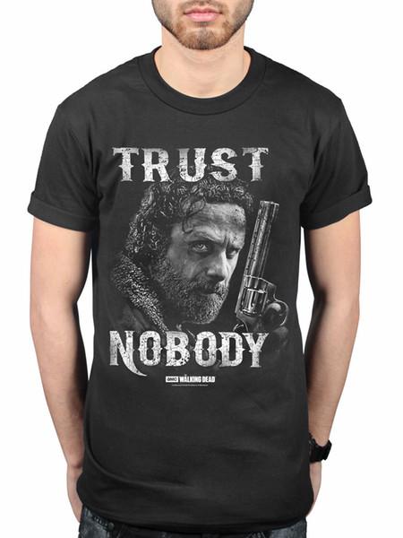 Maglietta ufficiale The Walking Dead Trust Nobody Serie TV Nation Rick Grimes Zomb maglia da uomo in tessuto stile street