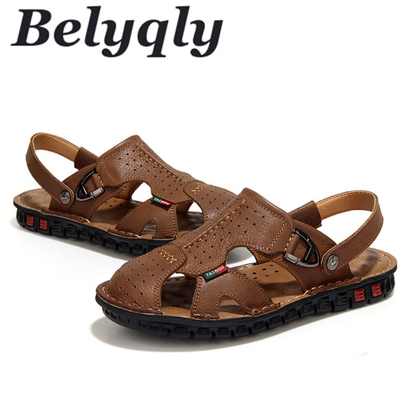 Belyqly 2018 New Men Sandals Hole Casual Shoes Flat Breathable Hight Quality Buckle Strap Hard-wearing Summer Outdoor Shoes