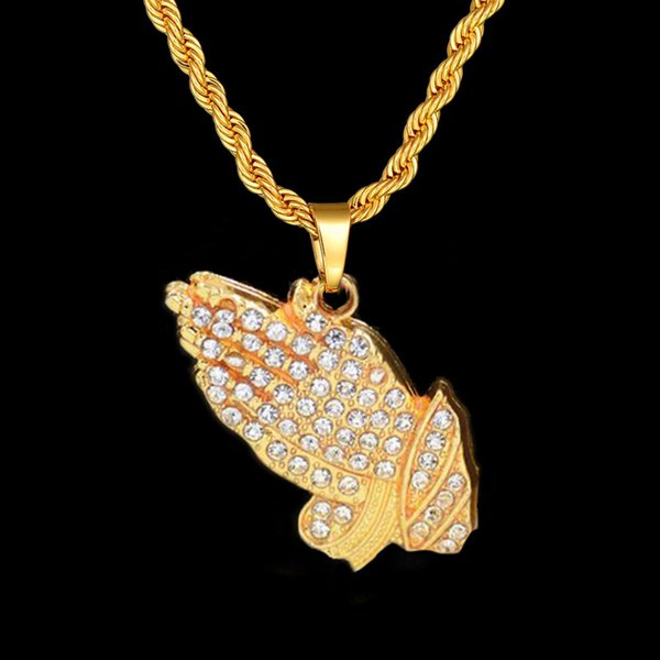 Mens Fashion Jewelry Luxury Micro Pave Bling Cubic Zirconia Hands Pendant necklace Cool Trendy Boys Iced Out Hip Hop Necklace