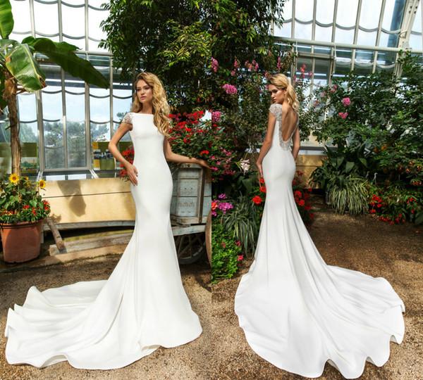 Vestidos de novia de la sirena blanca Backless Sweep Train Cap manga Satén barato vestido de novia Slim Fit tallas grandes vestidos de boda por encargo