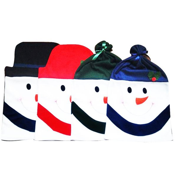 4pcs Christmas Snowman Dining Kitchen Chair Back Cover Set